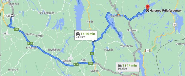 Reiserute Ski til Halsnes